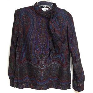 NWT Vintage JH Collectibles Paisley Blouse